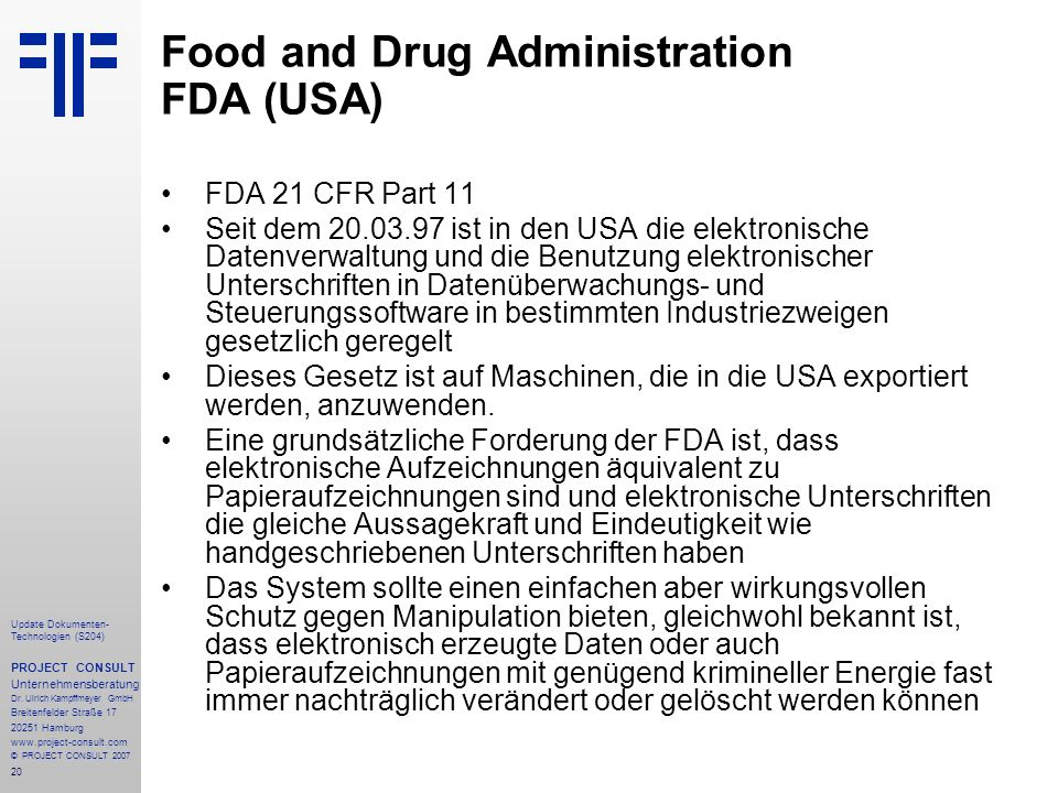 Food and Drug Administration FDA (USA)