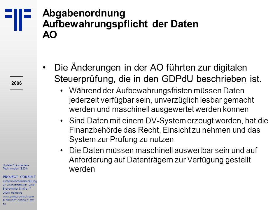 Abgabenordnung Aufbewahrungspflicht der Daten AO