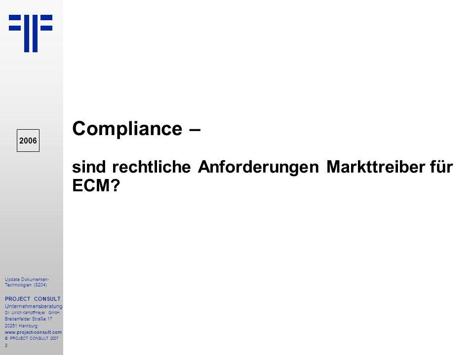 Compliance – sind rechtliche Anforderungen Markttreiber für ECM