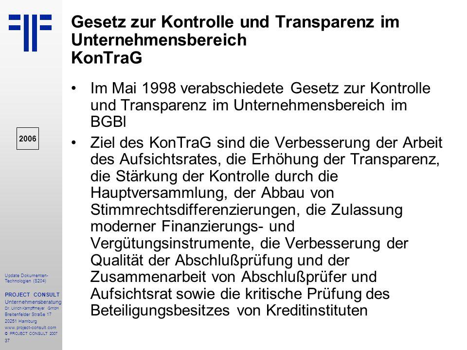 Gesetz zur Kontrolle und Transparenz im Unternehmensbereich KonTraG