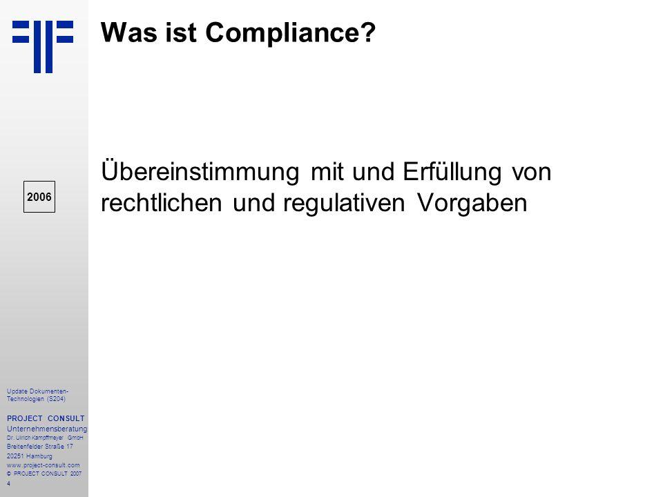 Was ist Compliance Übereinstimmung mit und Erfüllung von rechtlichen und regulativen Vorgaben. 2006.
