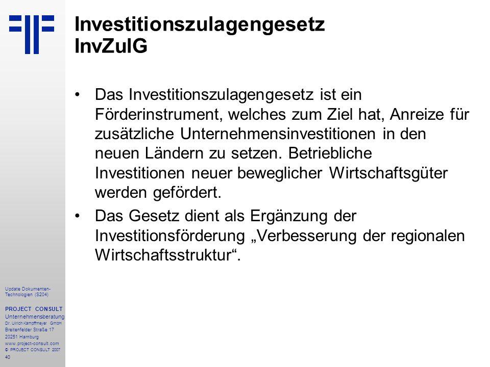 Investitionszulagengesetz InvZulG