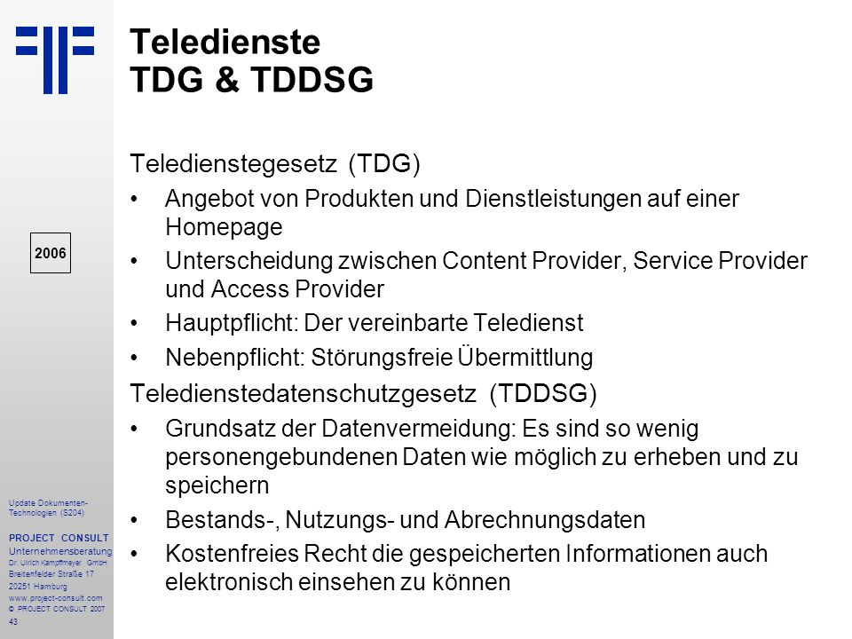 Teledienste TDG & TDDSG