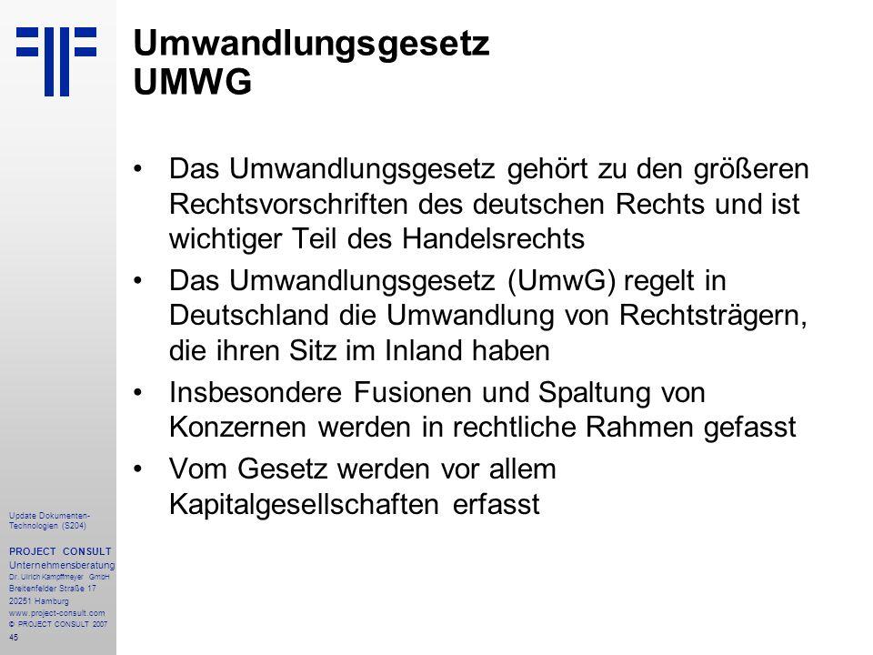 Umwandlungsgesetz UMWG