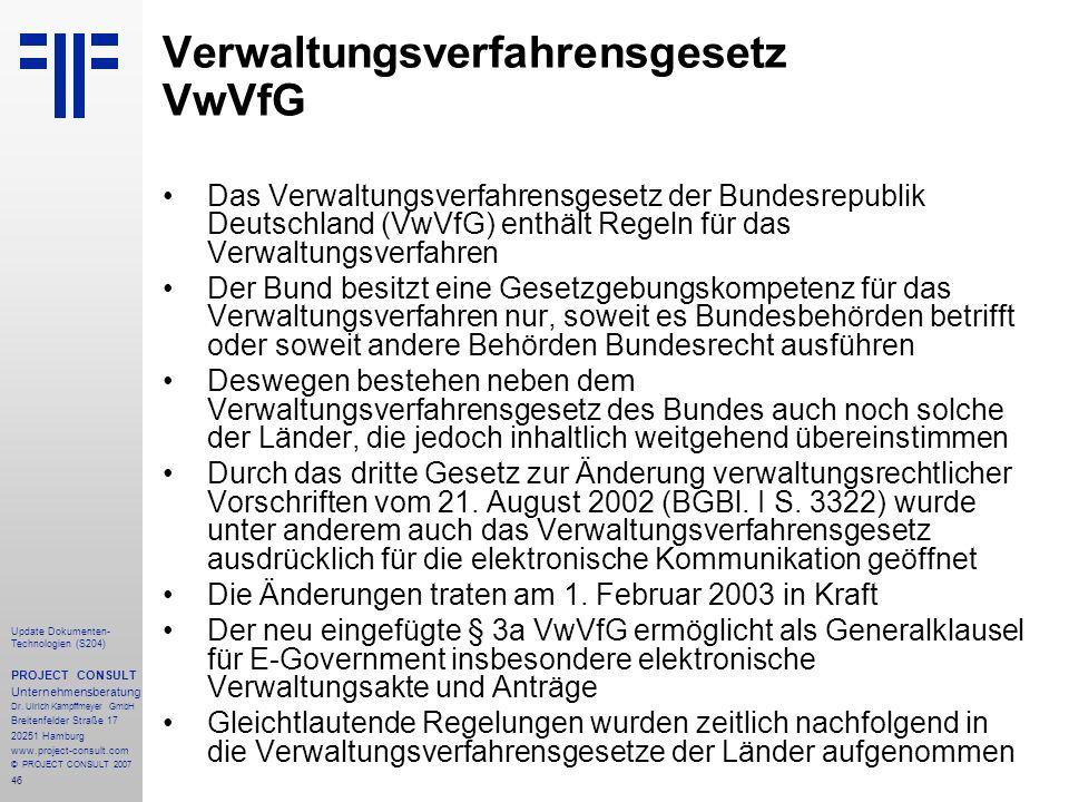 Verwaltungsverfahrensgesetz VwVfG