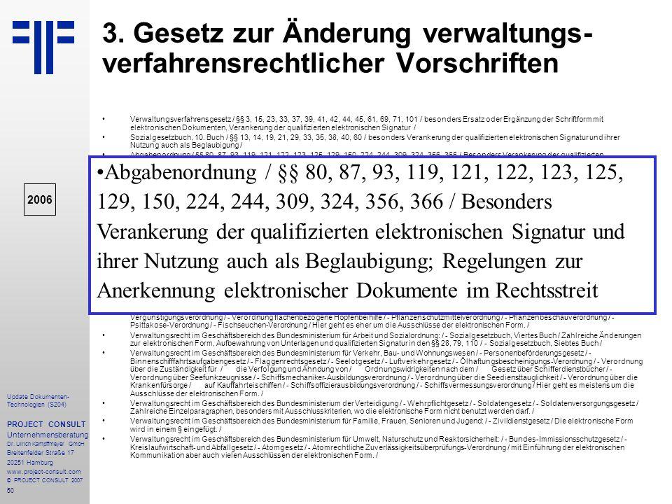 3. Gesetz zur Änderung verwaltungs-verfahrensrechtlicher Vorschriften