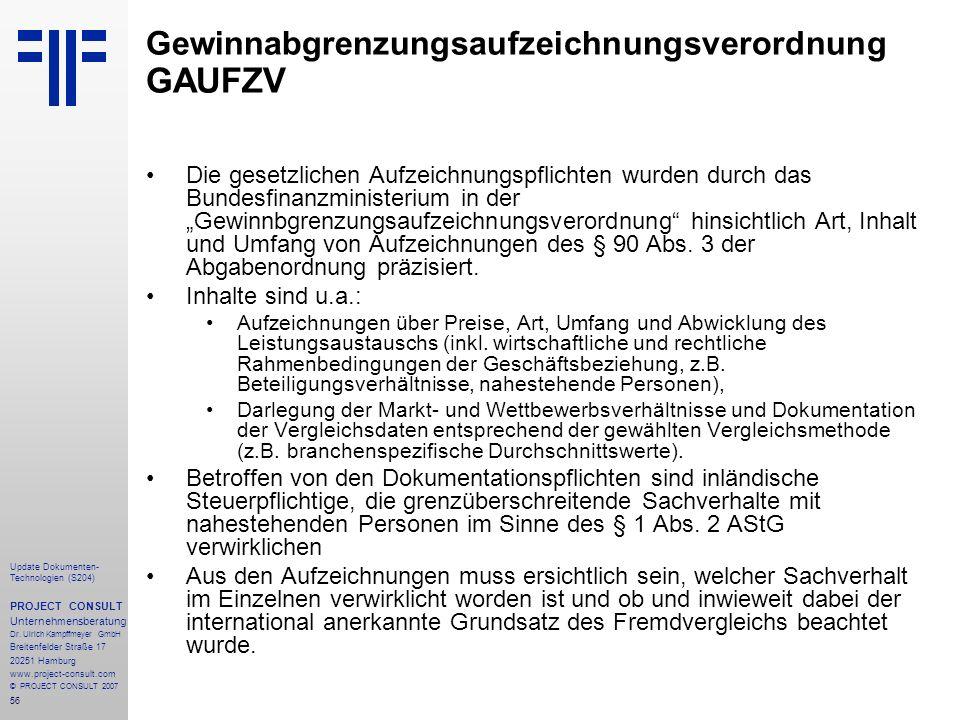 Gewinnabgrenzungsaufzeichnungsverordnung GAUFZV