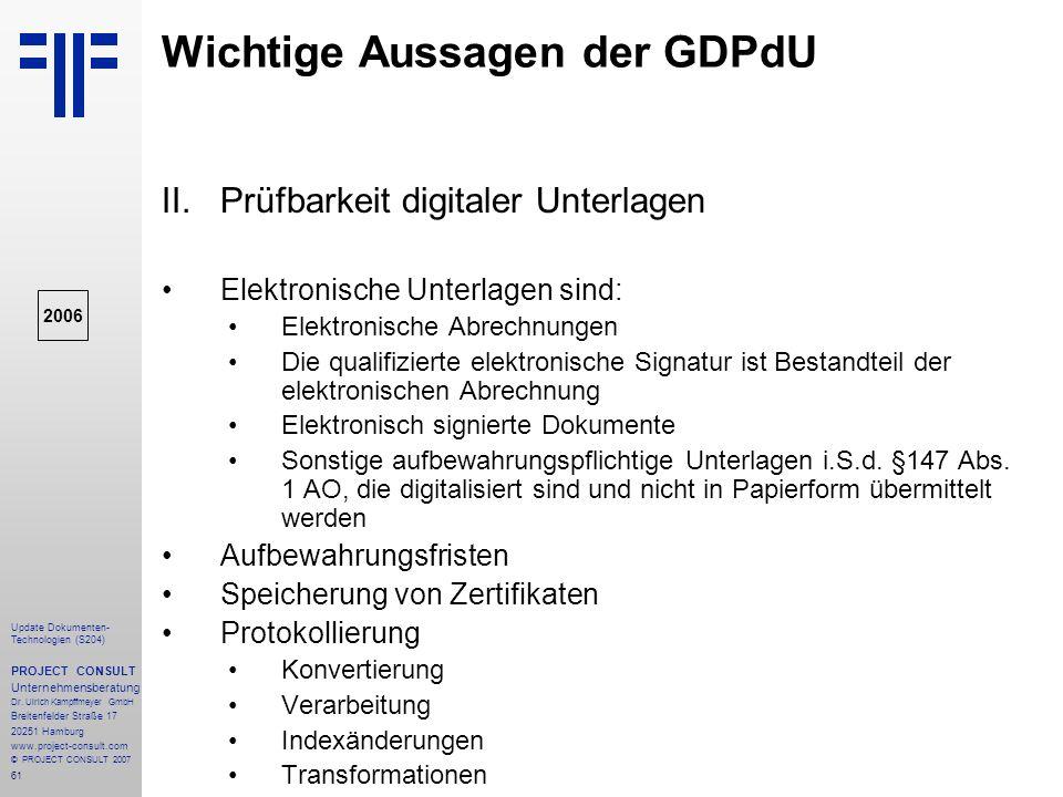 Wichtige Aussagen der GDPdU
