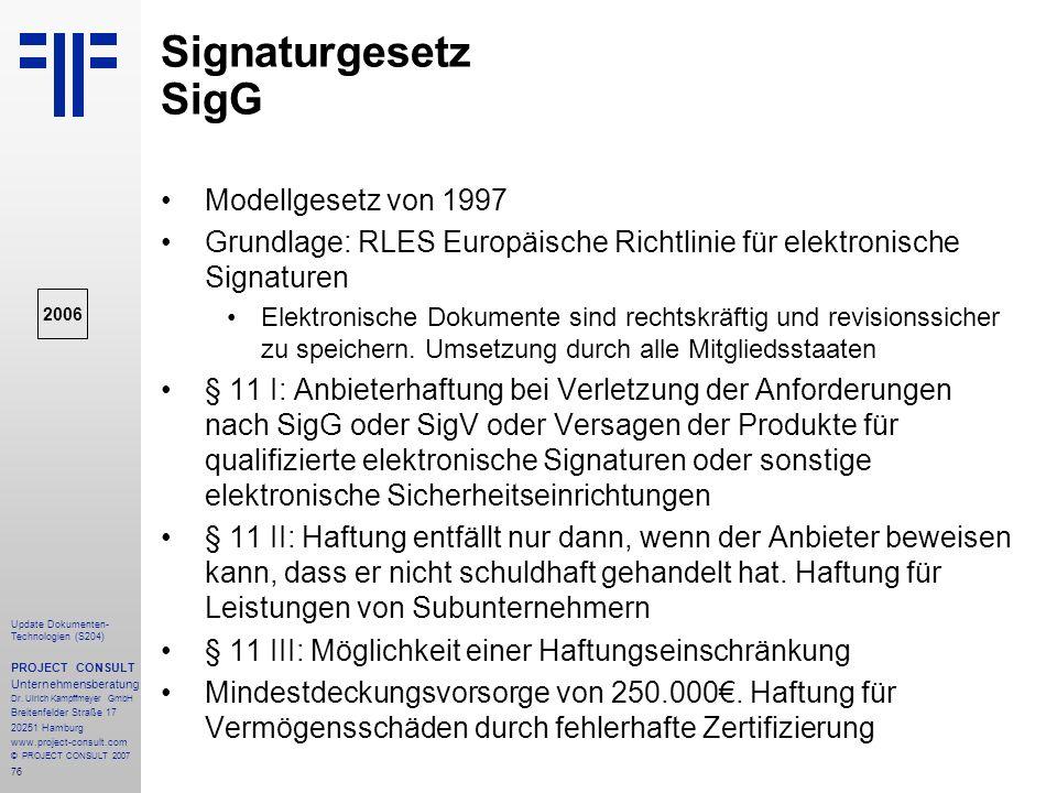 Signaturgesetz SigG Modellgesetz von 1997