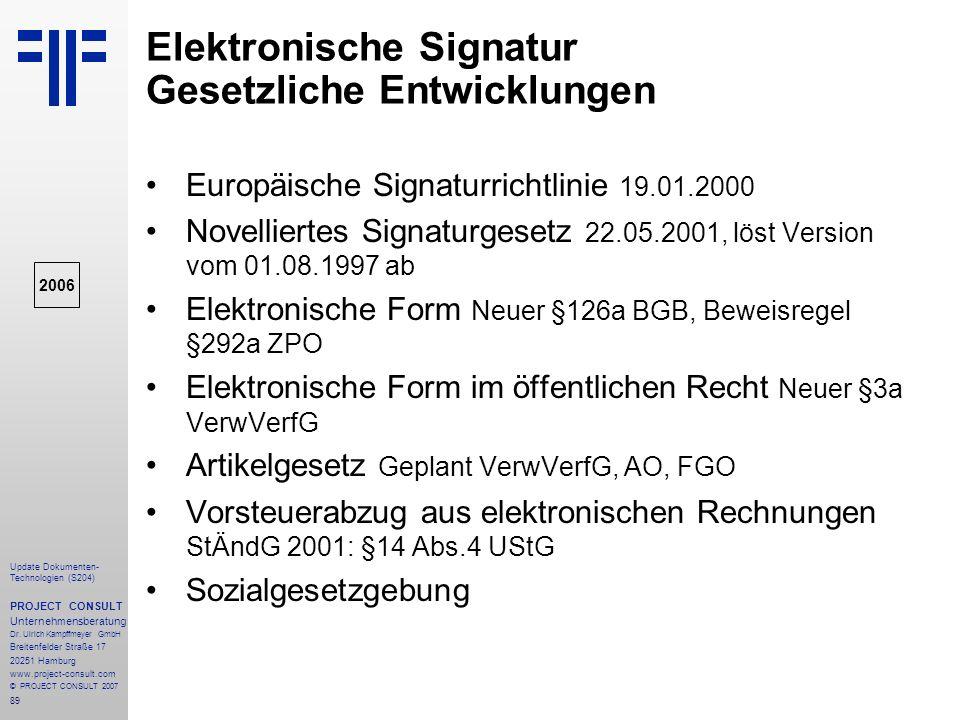 Elektronische Signatur Gesetzliche Entwicklungen