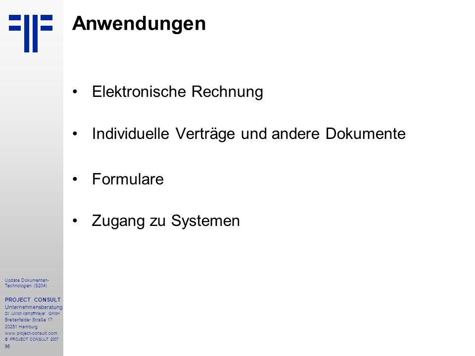 Anwendungen Elektronische Rechnung