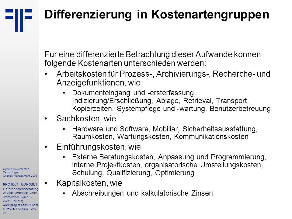 Differenzierung in Kostenartengruppen