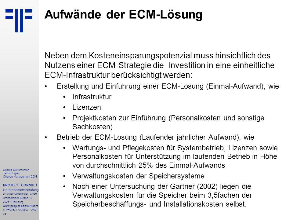 Aufwände der ECM-Lösung