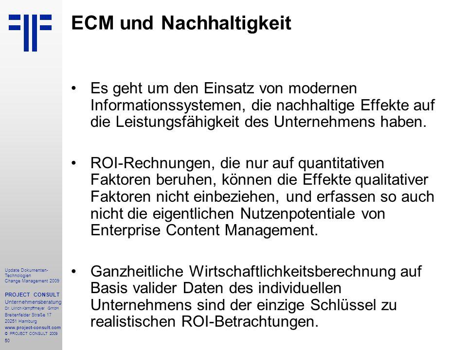 ECM und Nachhaltigkeit