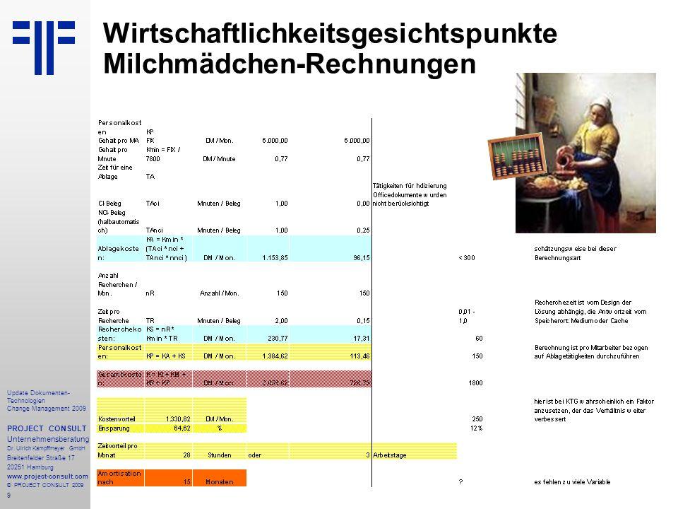 Wirtschaftlichkeitsgesichtspunkte Milchmädchen-Rechnungen