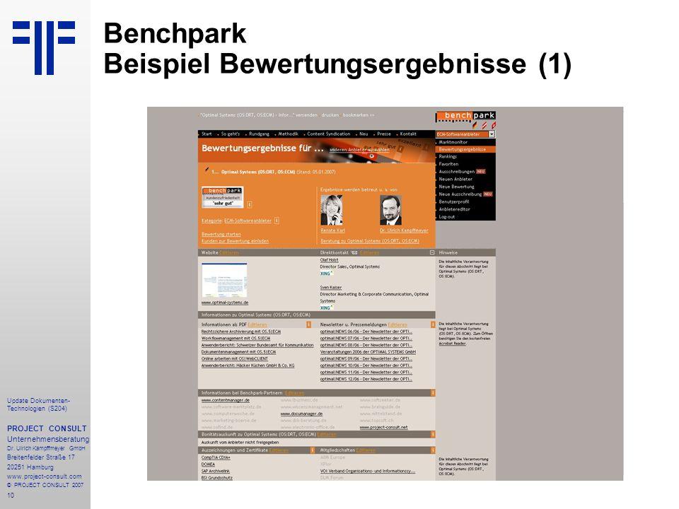 Benchpark Beispiel Bewertungsergebnisse (1)