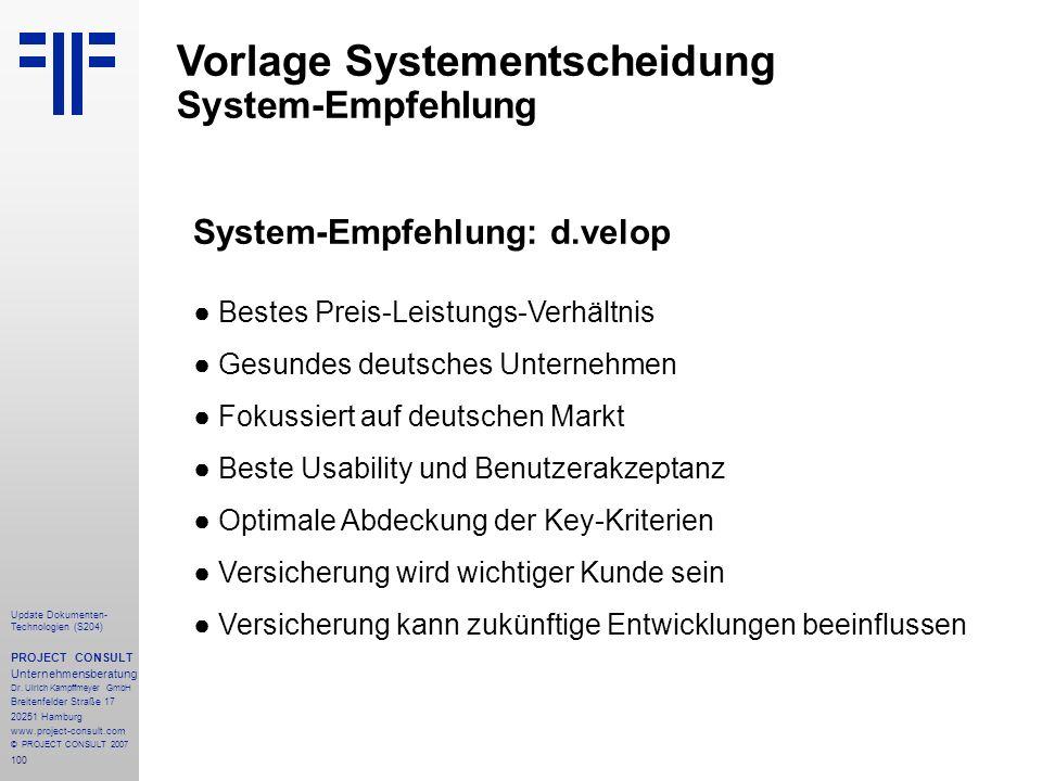 Vorlage Systementscheidung System-Empfehlung