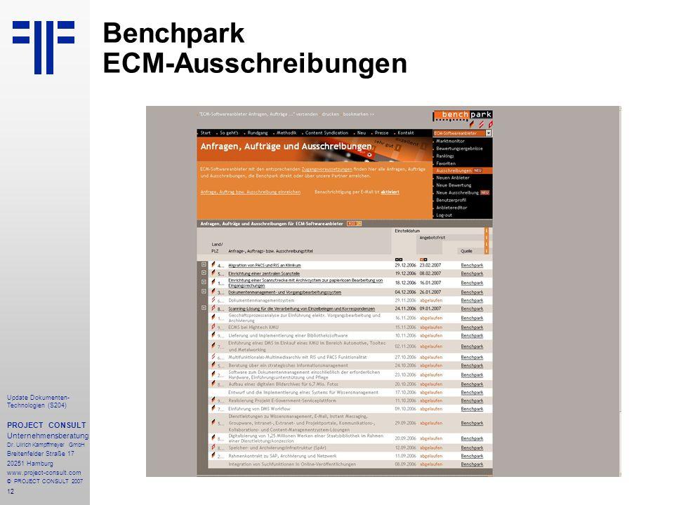 Benchpark ECM-Ausschreibungen