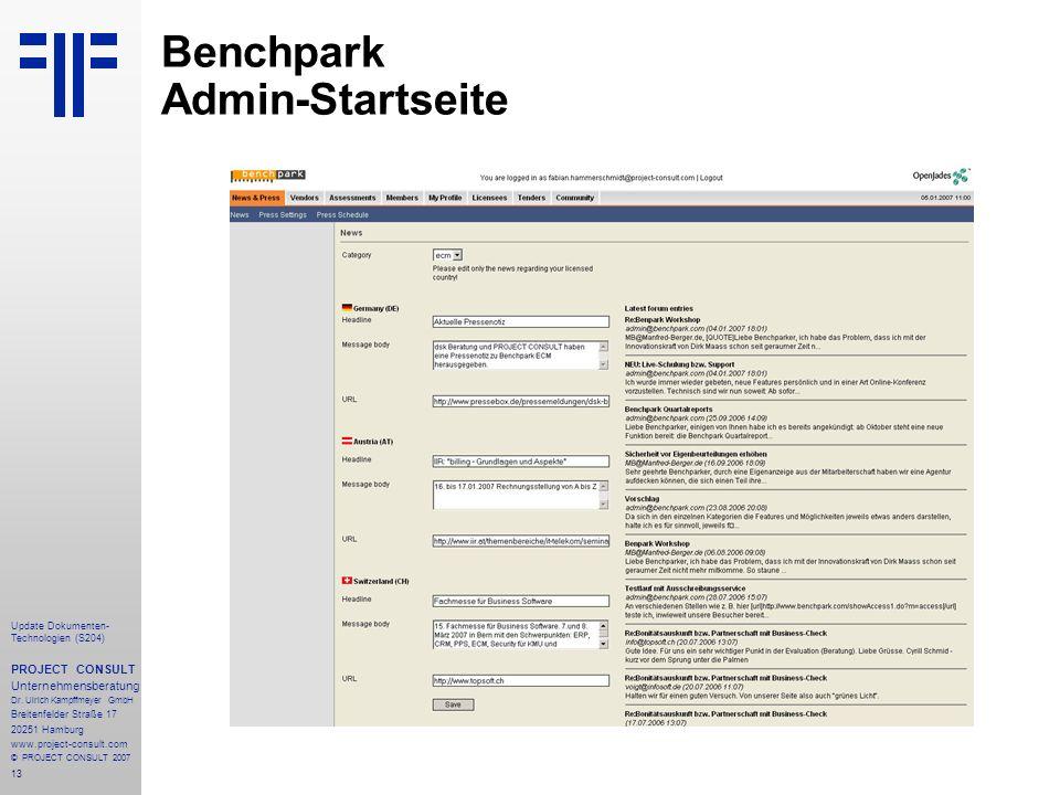 Benchpark Admin-Startseite