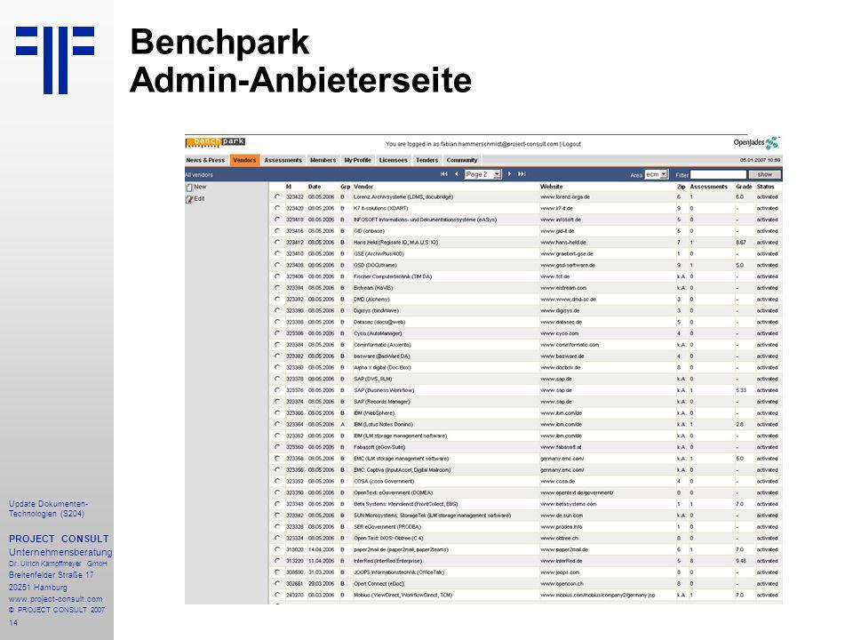 Benchpark Admin-Anbieterseite