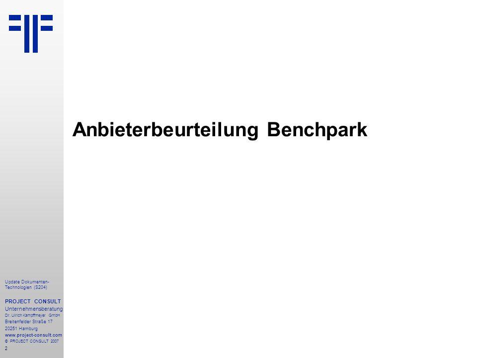 Anbieterbeurteilung Benchpark