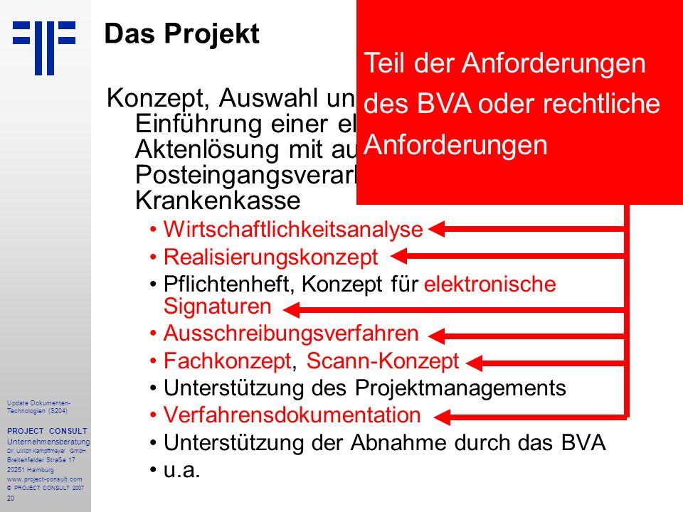 Teil der Anforderungen des BVA oder rechtliche Anforderungen