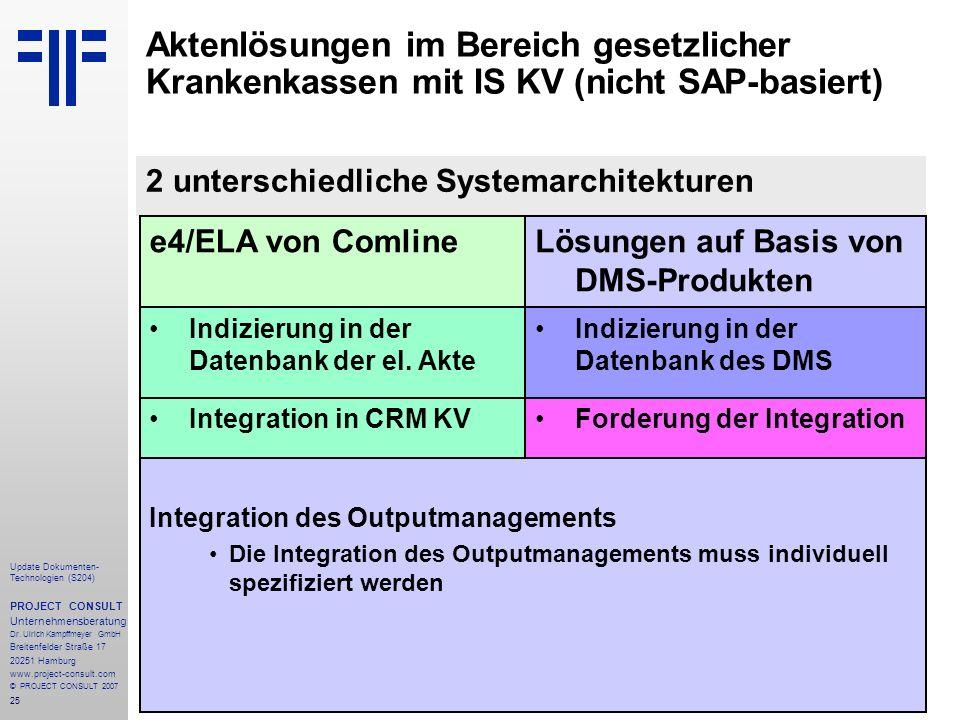Aktenlösungen im Bereich gesetzlicher Krankenkassen mit IS KV (nicht SAP-basiert)