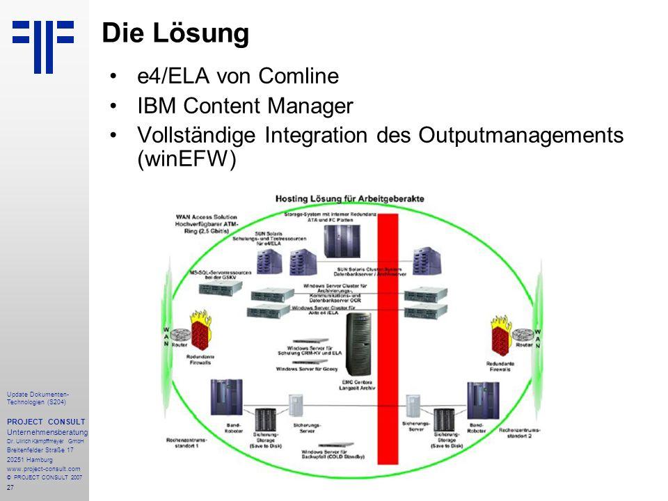 Die Lösung e4/ELA von Comline IBM Content Manager