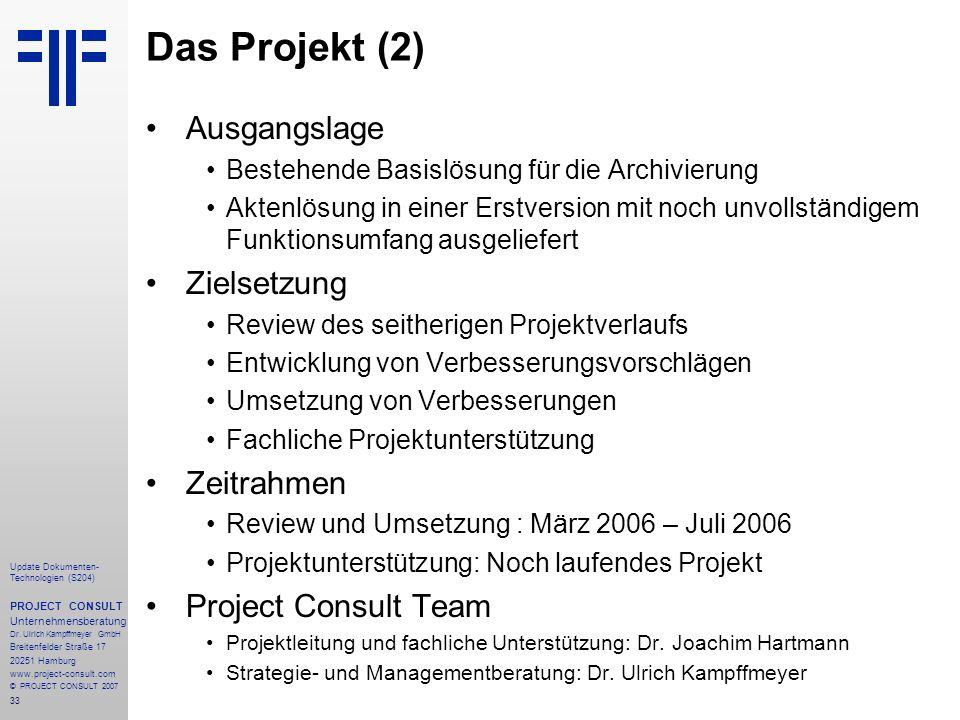 Das Projekt (2) Ausgangslage Zielsetzung Zeitrahmen
