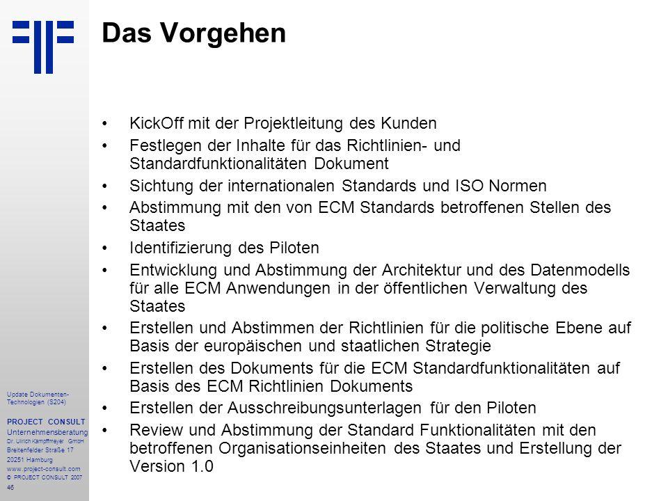 Das Vorgehen KickOff mit der Projektleitung des Kunden