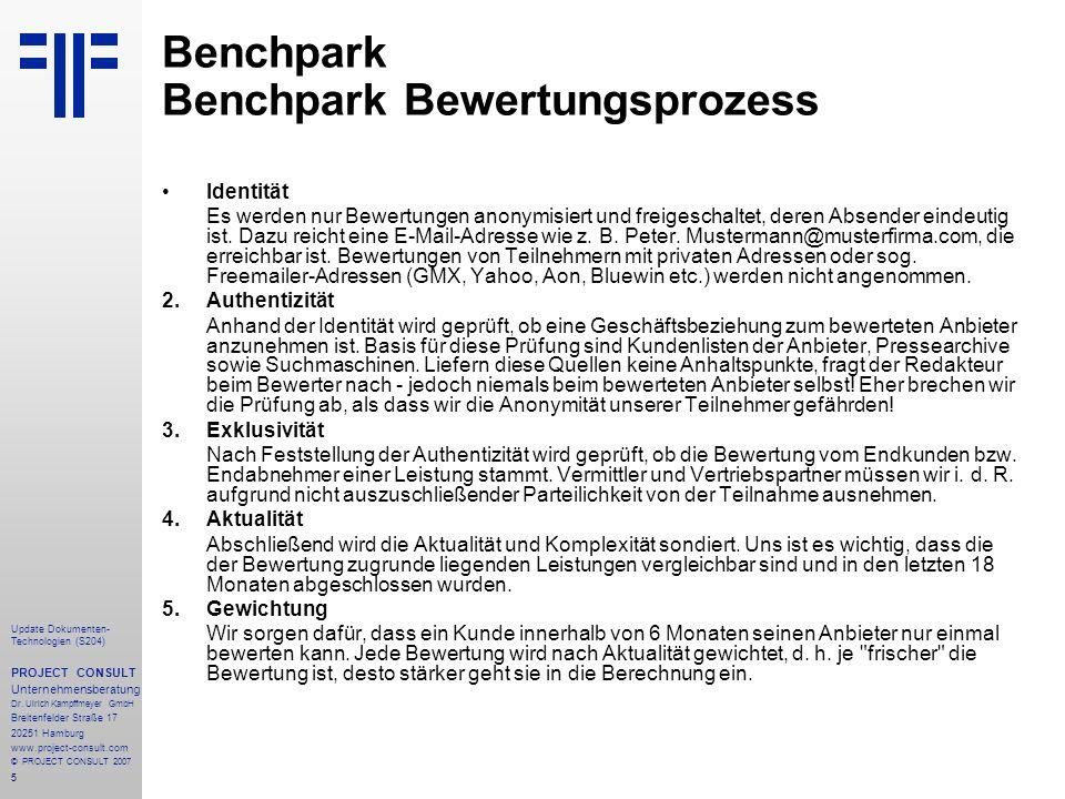 Benchpark Benchpark Bewertungsprozess