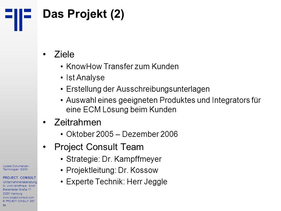 Das Projekt (2) Ziele Zeitrahmen Project Consult Team