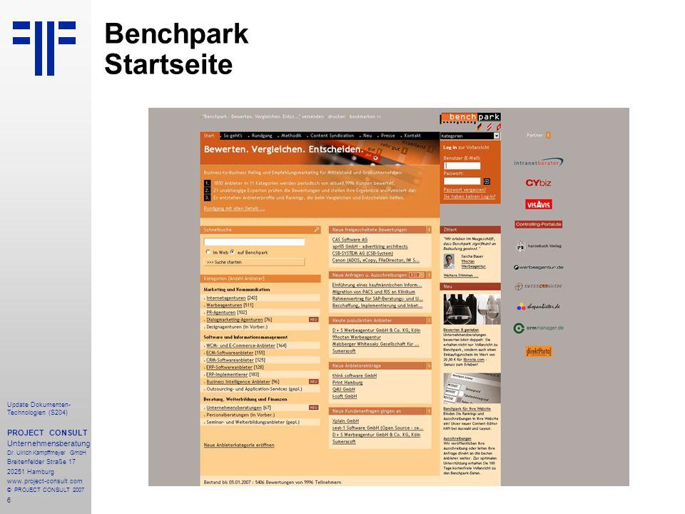Benchpark Startseite PROJECT CONSULT Unternehmensberatung