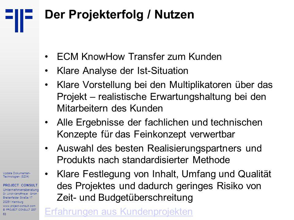 Der Projekterfolg / Nutzen