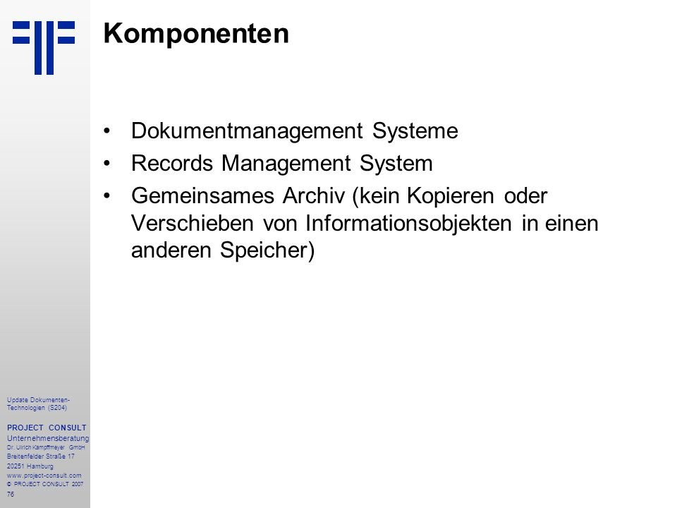 Komponenten Dokumentmanagement Systeme Records Management System