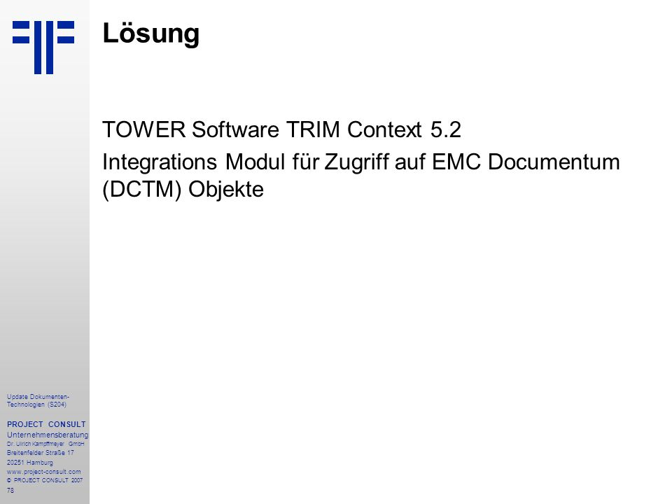 Lösung TOWER Software TRIM Context 5.2