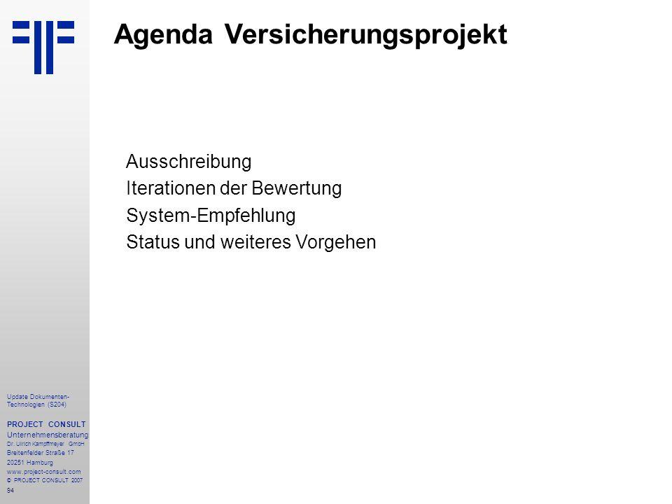 Agenda Versicherungsprojekt