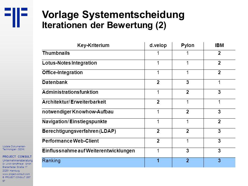 Vorlage Systementscheidung Iterationen der Bewertung (2)