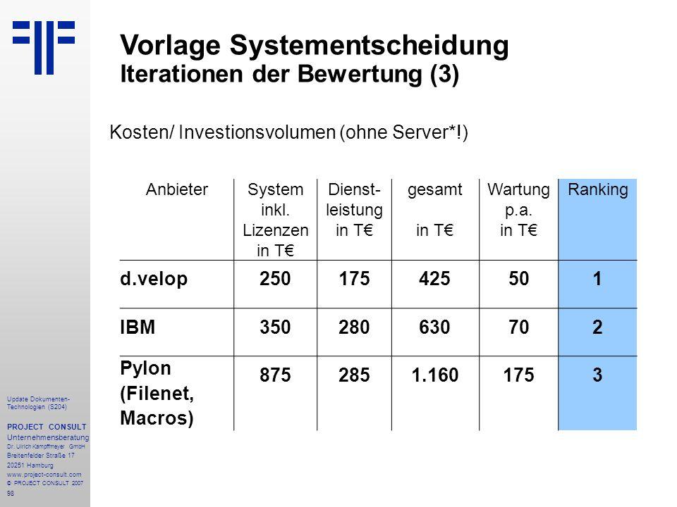 System inkl. Lizenzen in T€