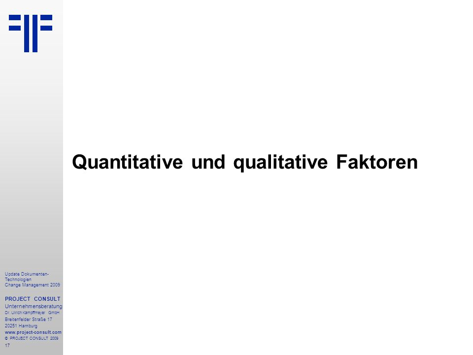 Quantitative und qualitative Faktoren