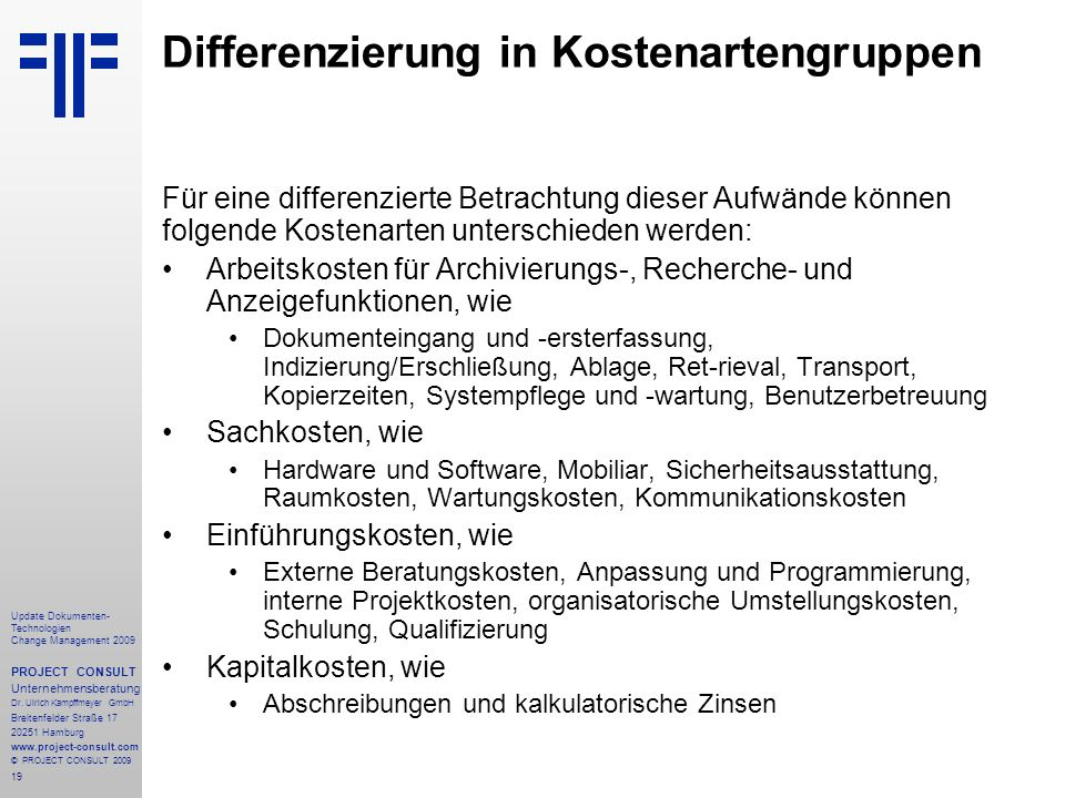 Differenzierung in Kostenartengruppen