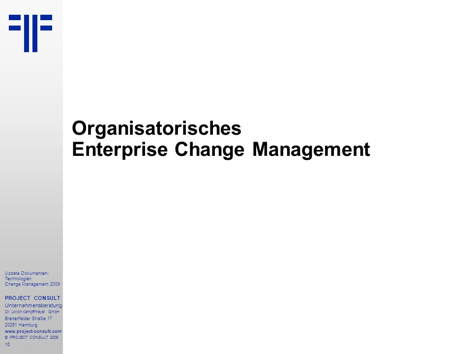 Organisatorisches Enterprise Change Management
