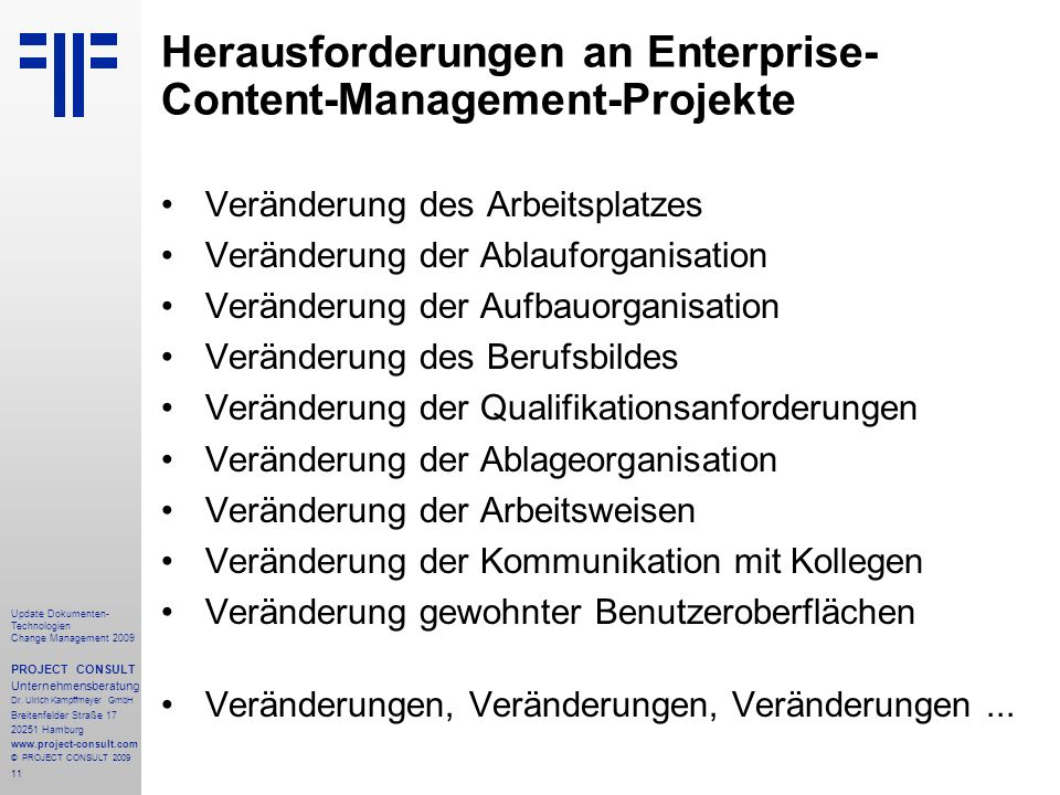 Herausforderungen an Enterprise-Content-Management-Projekte