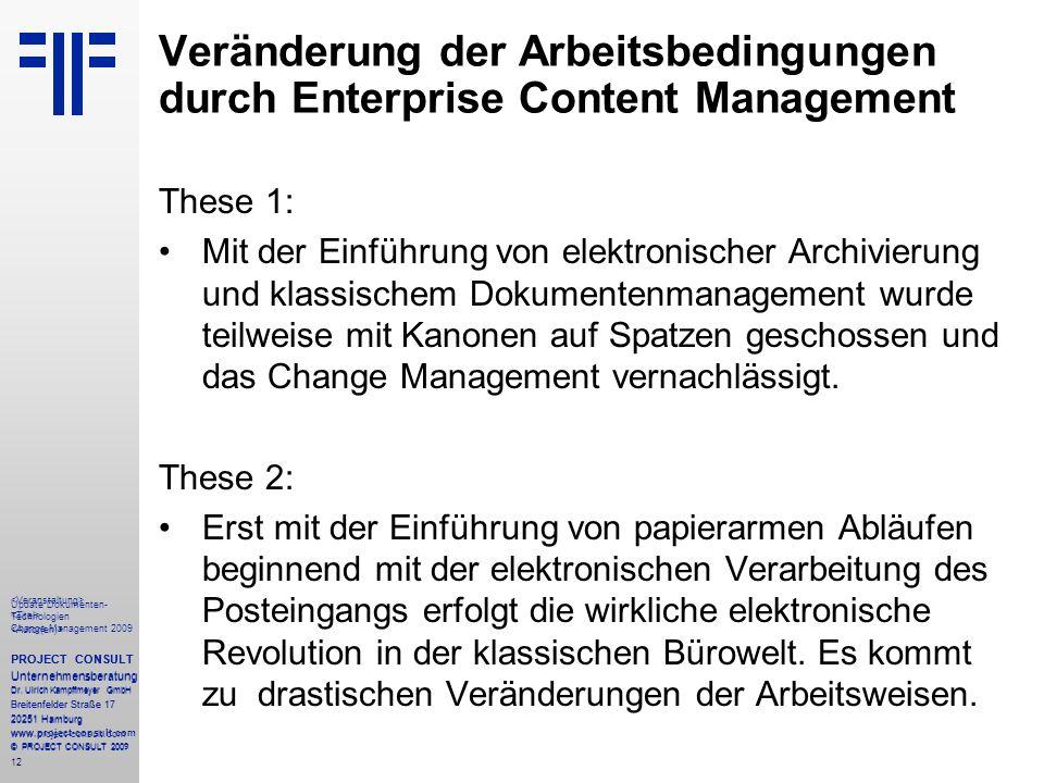 Veränderung der Arbeitsbedingungen durch Enterprise Content Management