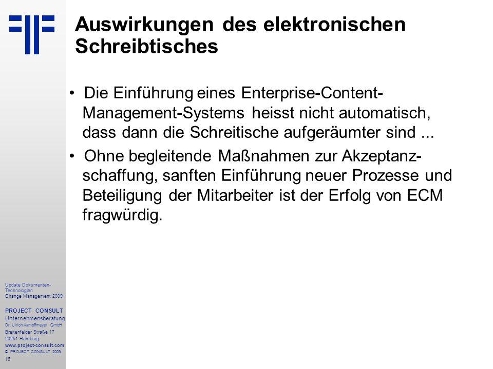 Auswirkungen des elektronischen Schreibtisches