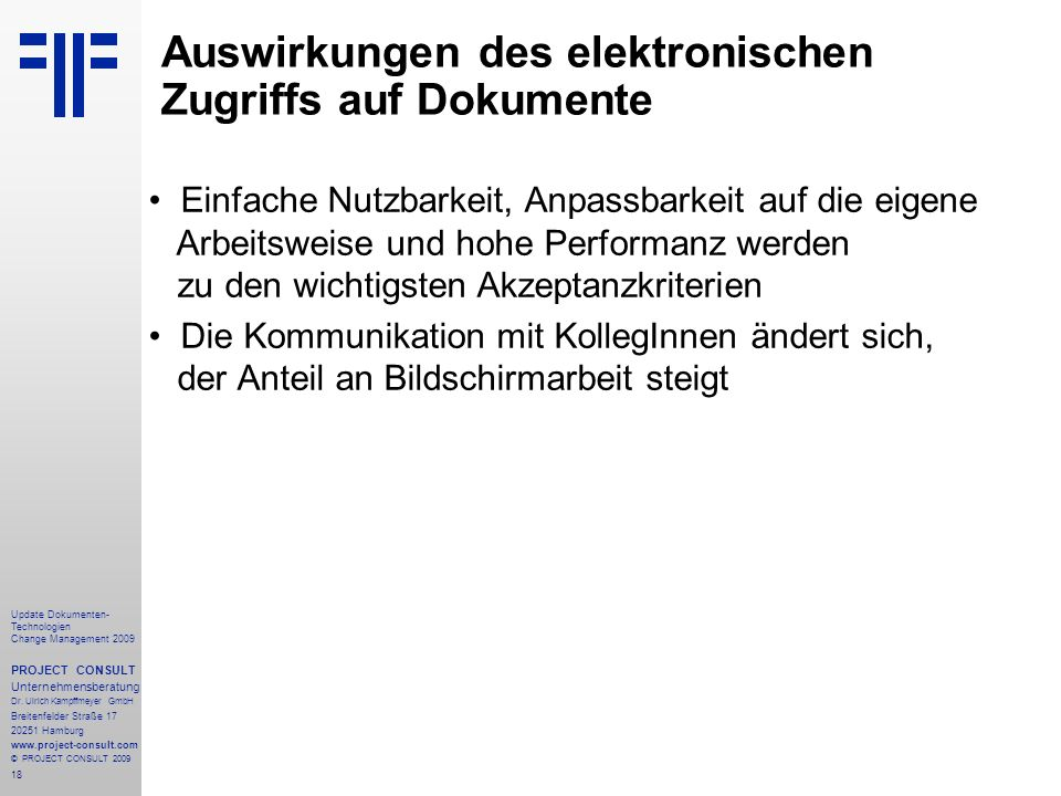 Auswirkungen des elektronischen Zugriffs auf Dokumente