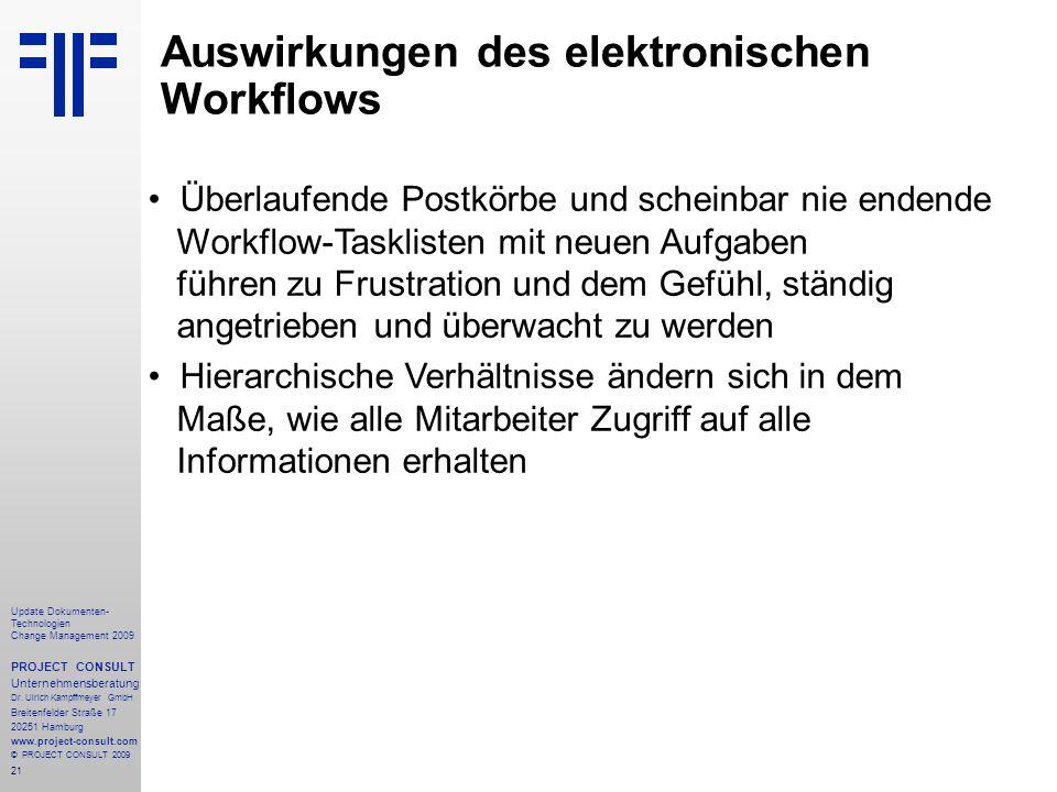 Auswirkungen des elektronischen Workflows