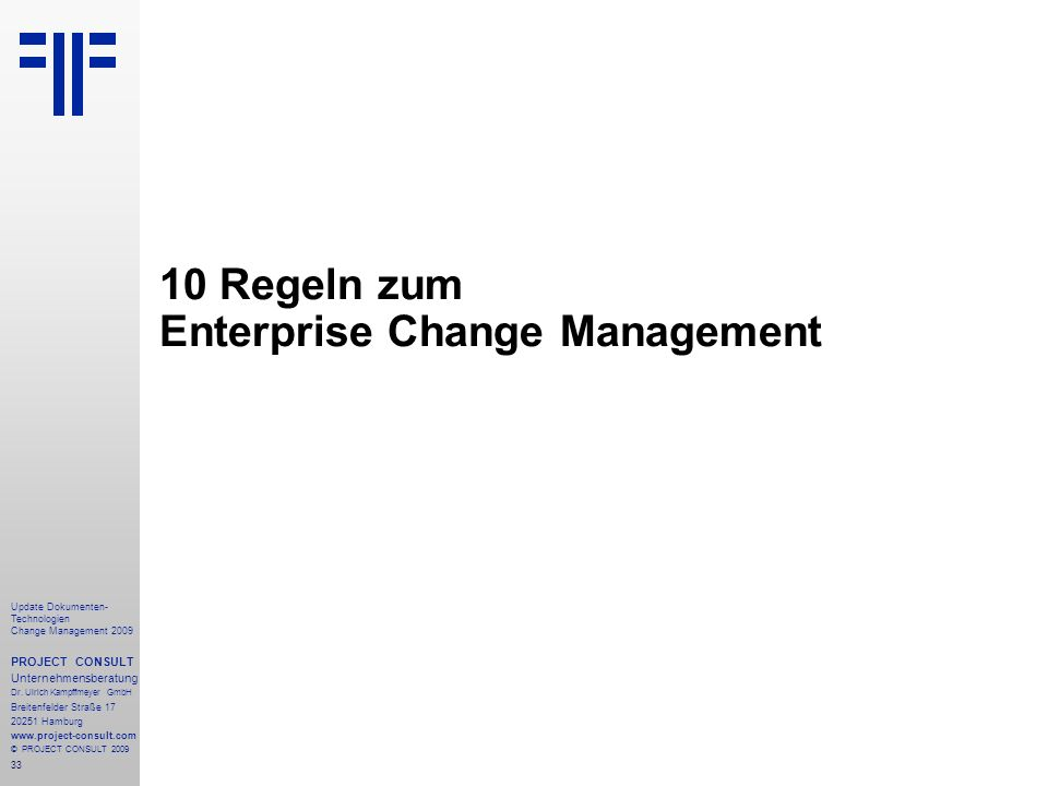 10 Regeln zum Enterprise Change Management