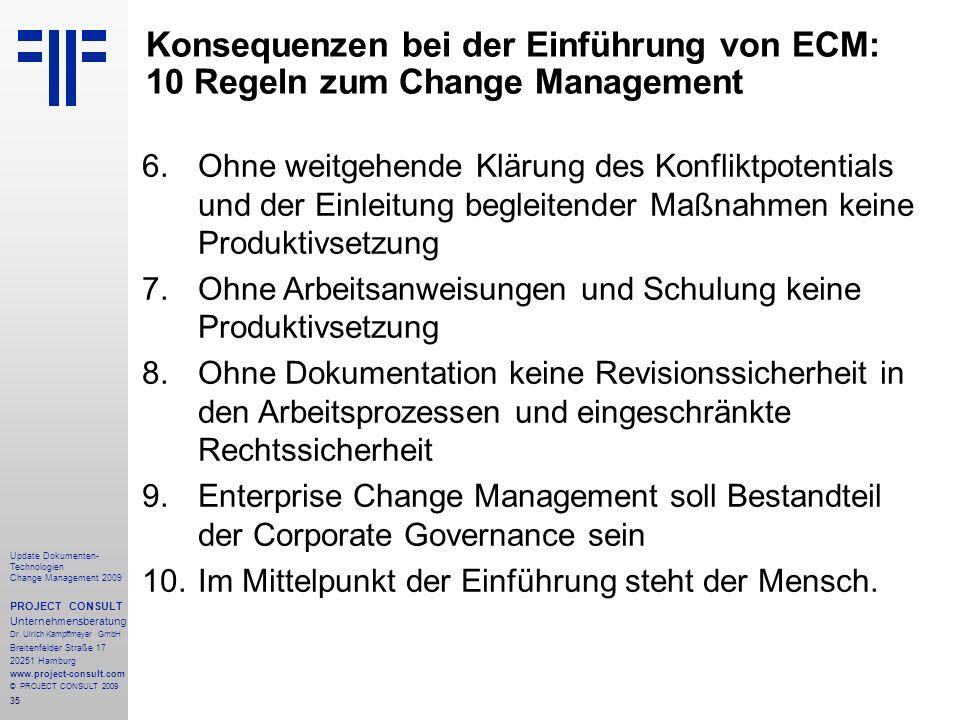 Konsequenzen bei der Einführung von ECM: 10 Regeln zum Change Management