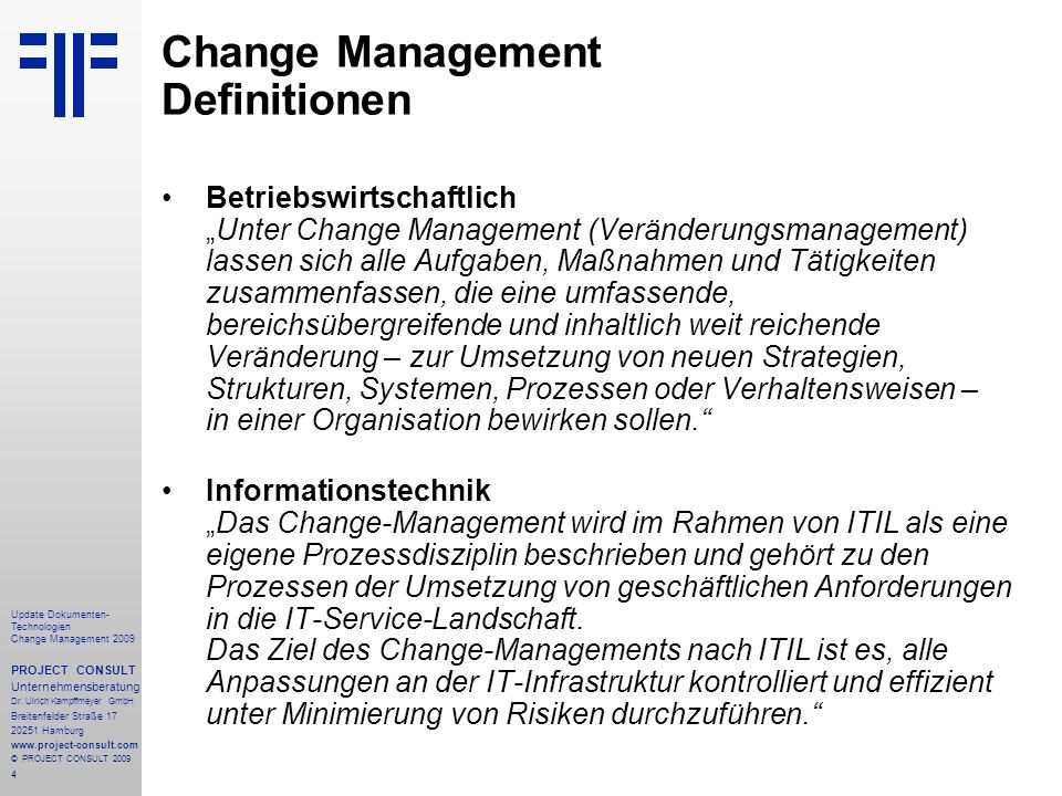 Change Management Definitionen